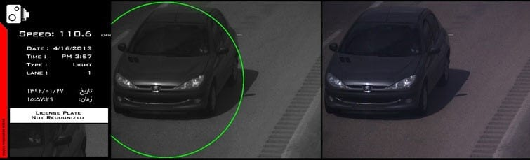 A vehicle without its plate recognized by the stereovision system