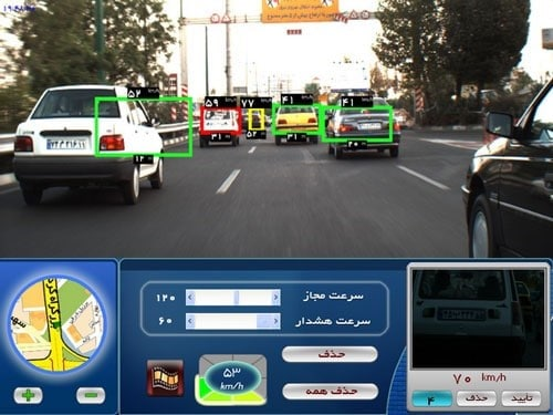 Speed detection by in-car camera