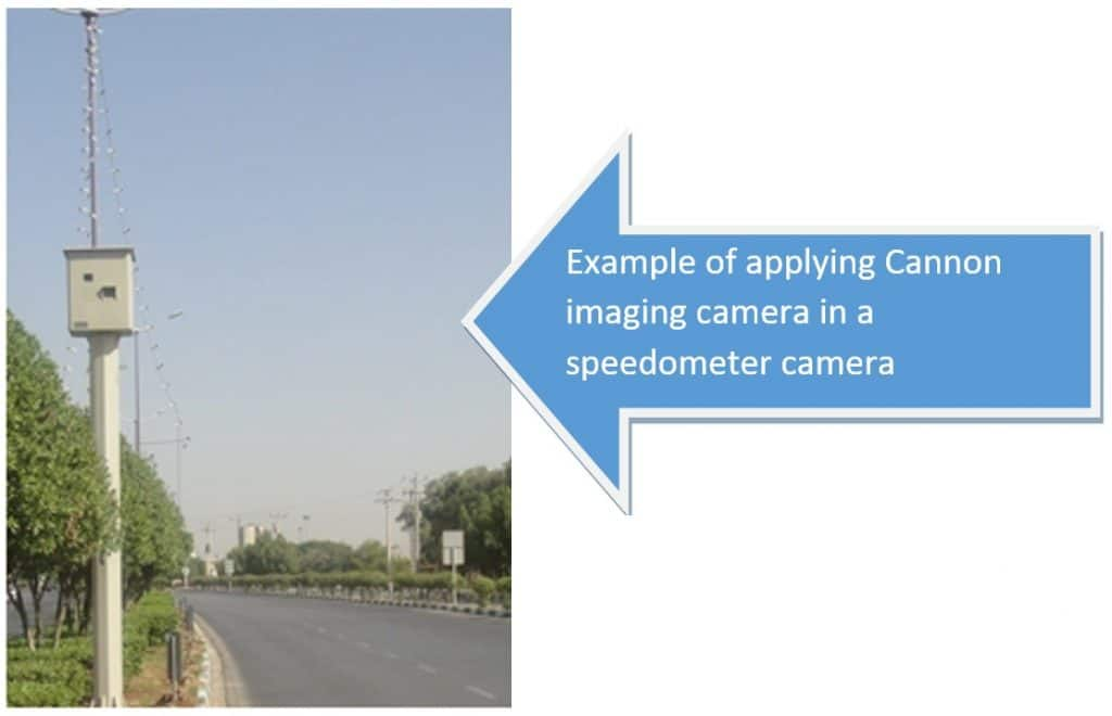 applying Cannon imaging camera in a speedometer camera